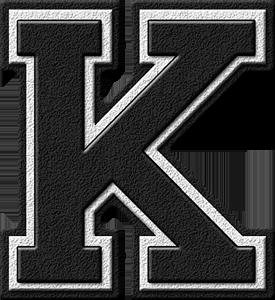 Presentation Alphabets Black Varsity Letter K