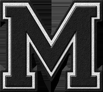 Presentation Alphabets Black Varsity Letter M