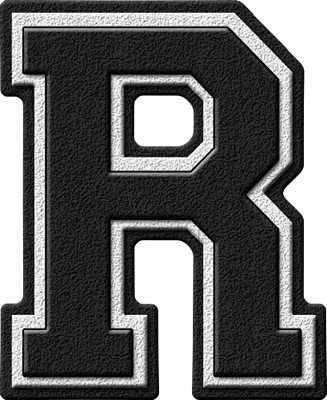 Presentation Alphabets: Black Varsity Letter R