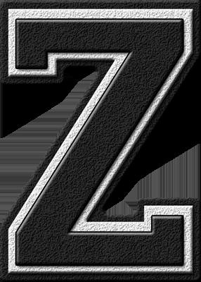 Presentation Alphabets Black Varsity Letter Z