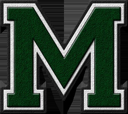 Presentation Alphabets: Forest Green Varsity Letter M