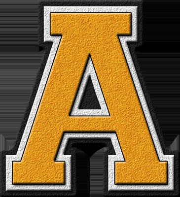presentation alphabets gold varsity letter a
