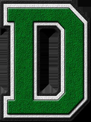 Presentation Alphabets: Green Varsity Letter D