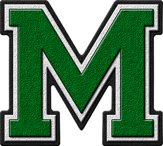 Presentation alphabet set green varsity letter m