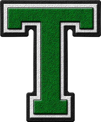 presentation alphabets green varsity letter t