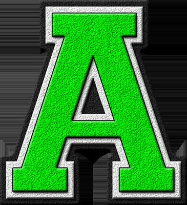 Presentation Alphabets Kelly Green Varsity Letter A The Latter S Color