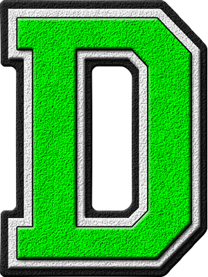 Presentation Alphabets: Kelly Green Varsity Letter D