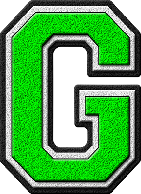 Presentation Alphabets: Kelly Green Varsity Letter G