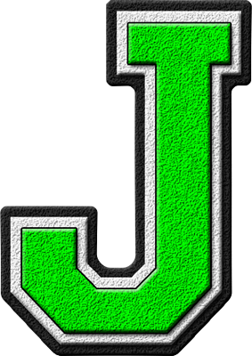 Presentation Alphabets: Kelly Green Varsity Letter J