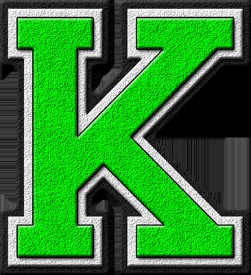 K Alphabet Letter Presentation Alphabets: Kelly Green Varsity Letter K