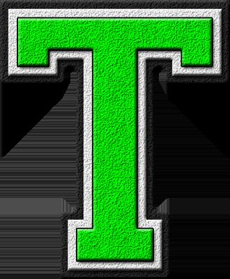 presentation alphabets kelly green varsity letter t