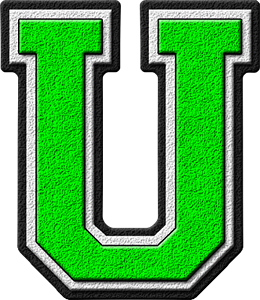 Presentation Alphabets Kelly Green Varsity Letter U