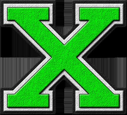 presentation alphabets kelly green varsity letter x. Black Bedroom Furniture Sets. Home Design Ideas