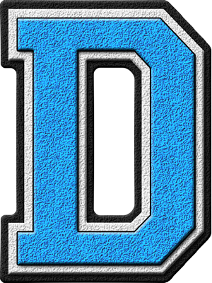 presentation alphabets: light blue varsity letter d