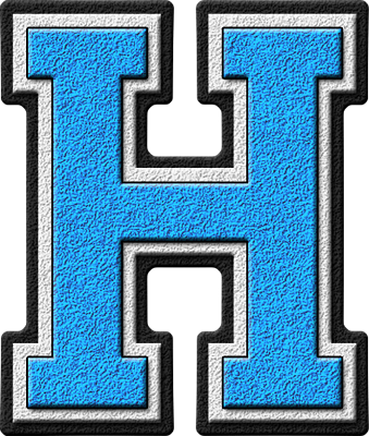 presentation alphabets: light blue varsity letter h