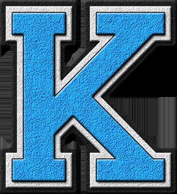 presentation alphabets: light blue varsity letter k