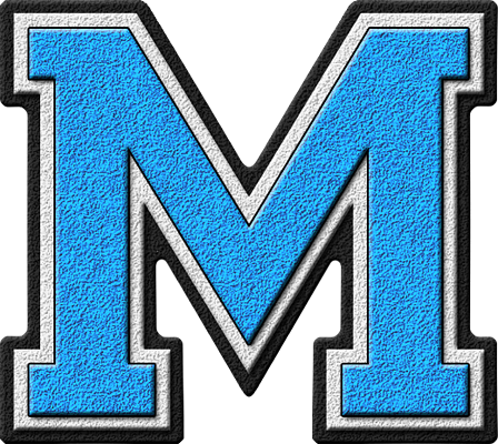 the letter m presentation alphabets light blue varsity letter m 25175 | M 400