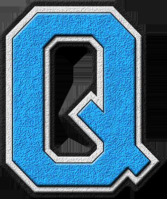presentation alphabets light blue varsity letter q