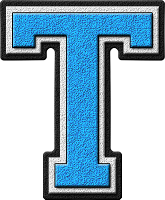 presentation alphabets: light blue varsity letter t