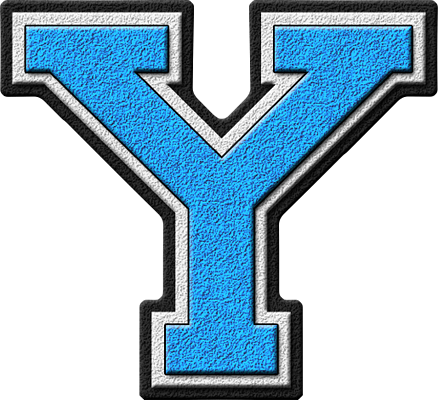 Presentation Alphabets: Light Blue Varsity Letter Y