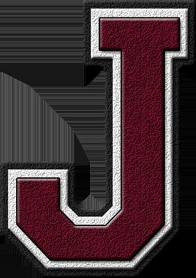 Presentation Alphabets Maroon Varsity Letter J
