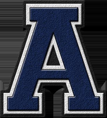Presentation Alphabets: Navy Blue Varsity Letter A