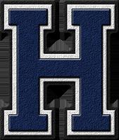 Presentation Alphabet Set Navy Blue Varsity Letter H