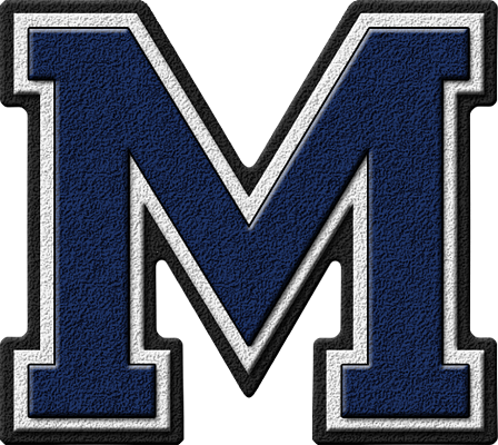 presentation alphabets: navy blue varsity letter m