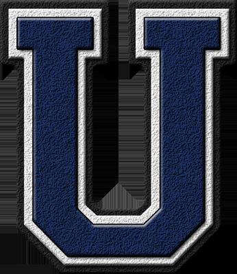 Presentation alphabet set: navy blue varsity letter u