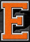 Presentation Alphabets: Orange Varsity Letter E