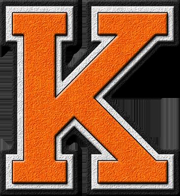 Presentation Alphabets: Orange Varsity Letter K