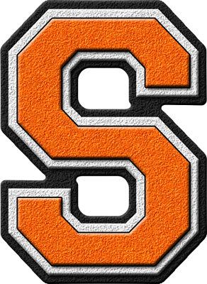 Presentation Alphabets Orange Varsity Letter S