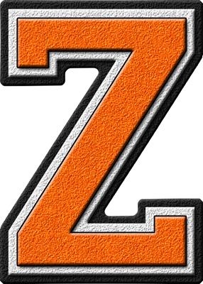 Z Alphabet Letter Presentation Alphabets: Orange Varsity Letter Z
