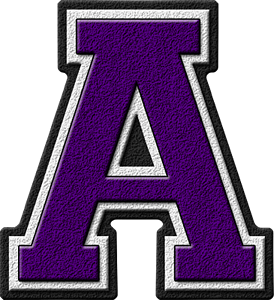 Presentation Alphabets: Purple Varsity Letter A