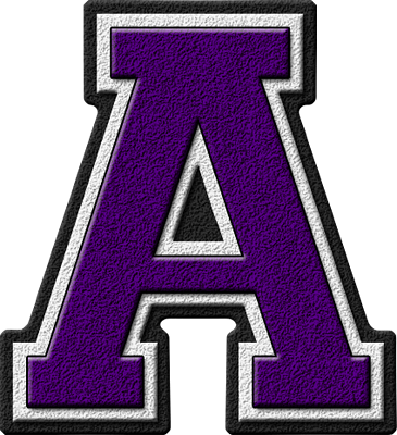 Presentation Alphabets Purple Varsity Letter A