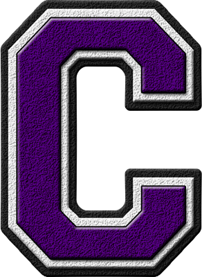 Presentation Alphabets: Purple Varsity Letter C