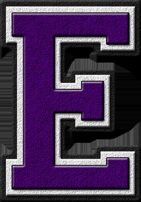 Presentation Alphabet Set: Purple Varsity Letter E