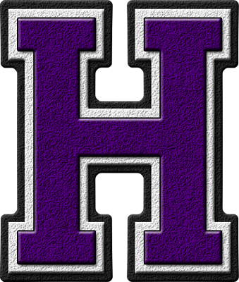 Presentation Alphabets Purple Varsity Letter H