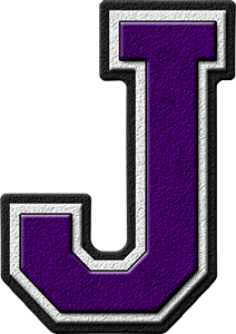 Presentation Alphabets Purple Varsity Letter J