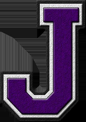 Presentation Alphabets: Purple Varsity Letter J