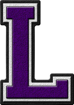 Presentation Alphabets Purple Varsity Letter L