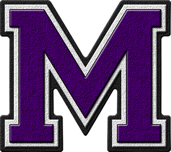 Presentation Alphabets: Purple Varsity Letter M