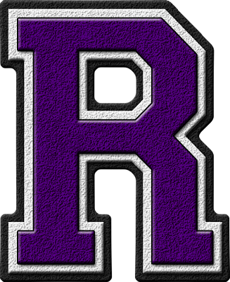 Presentation Alphabets: Purple Varsity Letter R