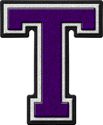 Presentation Alphabets: Purple Varsity Letter T