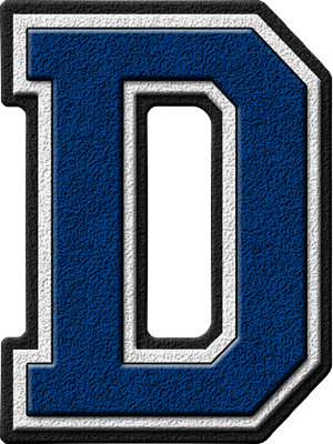 Presentation Alphabets: Royal Blue Varsity Letter D