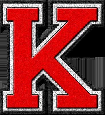 Presentation Alphabets: Scarlet Red Varsity Letter K