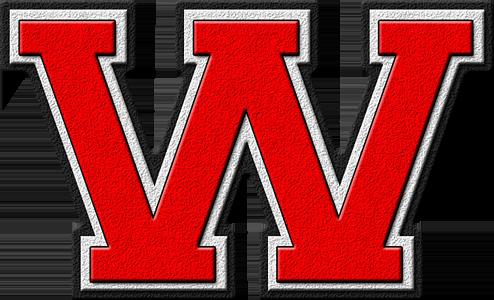 Presentation Alphabet Set: Scarlet Red Varsity Letter W