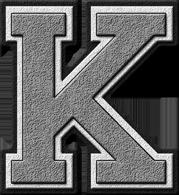 Presentation Alphabets Silver Varsity Letter K