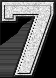 Presentation Alphabets White Varsity Numeral 7