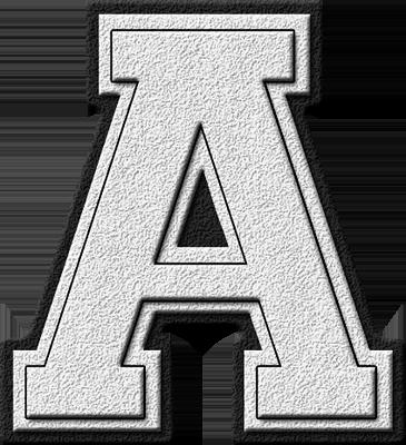 Presentation Alphabets White Varsity Letter A